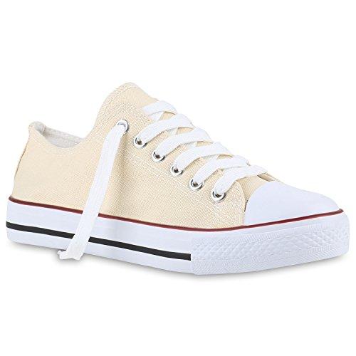 stiefelparadies Damen Sneakers Trendfarben Schnürer Sportschuhe Freizeit Schuhe 139921 Creme Creme 40 Flandell