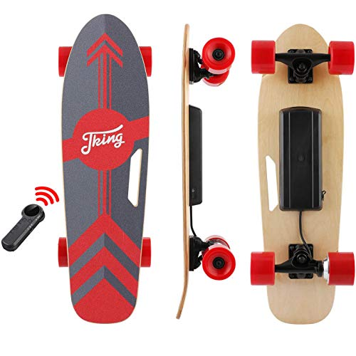 Tooluck 27.5' Electric Longboard Electronic Skateboard 20KM/H 350W Singal Motor 7 Layers Maple Longboard with Wireless Remote Control for Adult Youth (red)