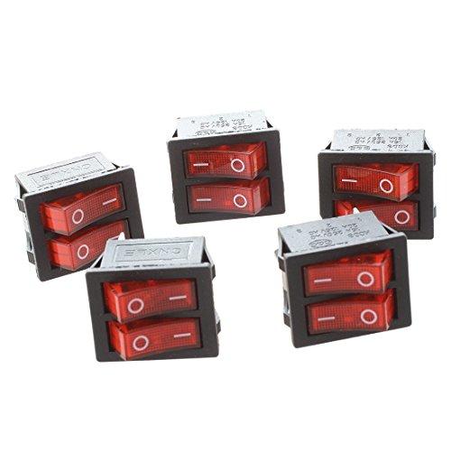 SODIAL(R) 5 piezas de x interruptores de eje de balancin con Luz Roja Iluminada SPST Doble Encendido   Apagado en forma de barco 6 Pin