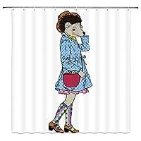 ファッション・ヒップスターのように着飾った漫画ハリネズミ楽しいトレンディな動物浴室の窓の装飾のための生地のホックが付いているポリエステル防水シャワー・カーテン60X72in