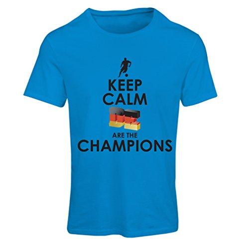 Camiseta Mujer Los alemanes Son los campeones - Campeonato de Rusia 2018, Copa Mundial de fútbol, Equipo de la Camiseta del Ventilador de Alemania (Large Azul Multicolor)