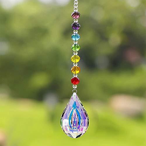 Dsaren Kristall Sonnenfänger Handgemacht Regenbogen Perlen Glas Prisma Kristall Anhänger mit Haken für Fenster Garten Zuhause Dekoration (Wassertropfen)