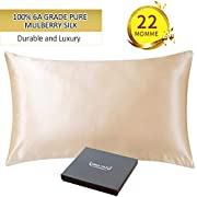 ZIMASILK 22 Momme 100% Mulberry Silk Pillowcase for Hair and Skin,Both Sides Natural Silk,1 Pc