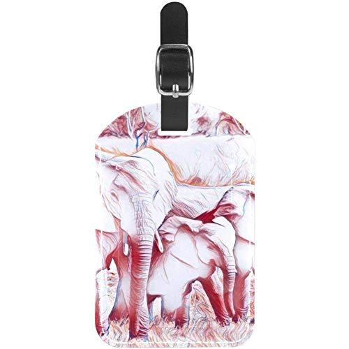 Etiquetas de equipaje de piel para maleta de viaje, diseño de elefante, 1 paquete