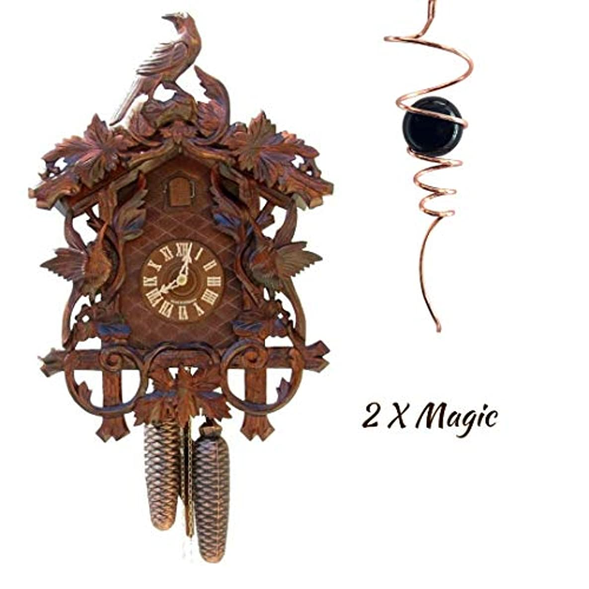 Qwirly 2 Item Decor Bundle: STERNREITER Hummingbirds Black Forest Mechanical Cuckoo Clock & Optical Illusion Spinner