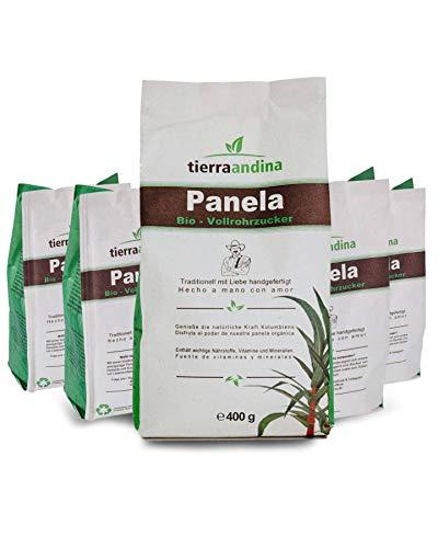 Tierra Andina Panela Bio Vollrohrzucker | 5er Set In nachhaltiger Verpackung aus dem Zuckerrohr | leckere Karamellnote zum Kochen, Backen, Süßen | 5 x 400 g