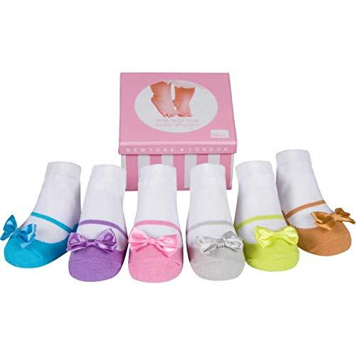 Baby Emporio 6 pares de calcetines para bebé niña - Suelas antideslizantes - Algodón suave - Cajita regalo - Efecto zapatos (0-12 Meses, ALLURA)