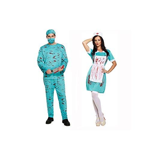 Coppia Mens e Donna Sanguinoso Zombie Medico & Infermiera Vestito Per Halloween Costumi,outfit