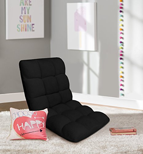 Chic Home RC64-26BK-N1-WT Lounge Adjustable Recliner Rocker Memory Foam Armless Floor Gaming Ergonomic Chair, Black
