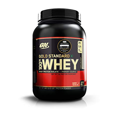 Optimum Nutrition (ON) Gold Standard 100% Whey Protein Powder - 2 lbs, 907 g (Cookies & Cream), Primary Source Isolate