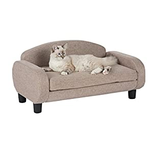 Paws & Purrs Modern Pet Sofa 31.5″ Wide Low Back Lounging Bed with Removable Mattress Cover in Sand
