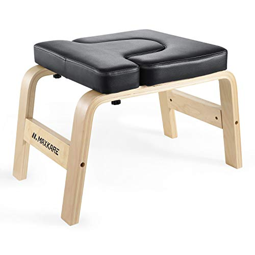 Sale!! MaxKare Yoga Headstand Bench Wood Stand Yoga Inversion Chair Stool Handstand with PVC Pads for Family, Gym – Relieve Fatigue and Shape The Body (Black)