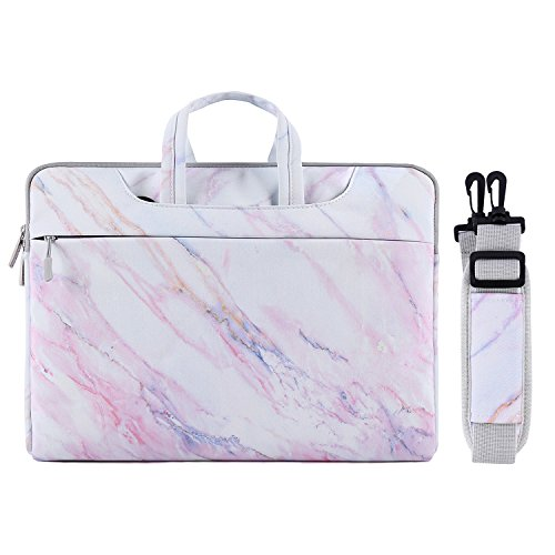 MOSISO Laptop Shoulder Bag Compatible with 13-13.3 inch MacBook Pro, MacBook Air, Notebook Computer, Marble Pattern Carrying Briefcase Sleeve Case, Pink