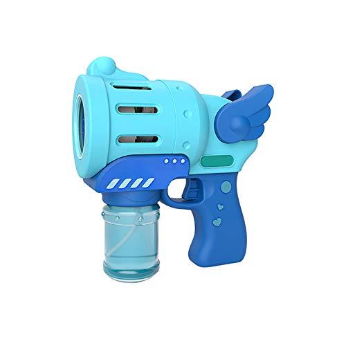 Zhouwei - Macchina a bolle d'aria a forma di pistola a forma di bolla per interni ed esterni, macchina automatica a bolle d'aria per bambini (colore blu)