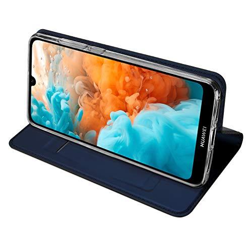 DUX DUCIS Hülle für Huawei Y6 2019, Leder Flip Handyhülle Schutzhülle Tasche Case mit [Kartenfach] [Standfunktion] [Magnetverschluss] für Huawei Y6 2019 (Blau)