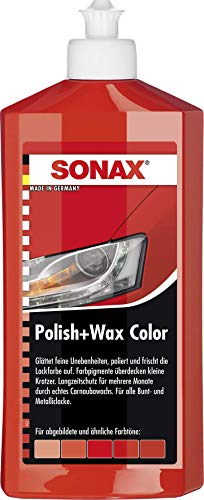 Sonax 02964000-544 Polish & Wax Color Nanopro Cera para Coche, Rojo, 500 ml