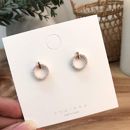 weichuang Pendientes redondos de diamantes de imitación de 2021 para niña, con temperatura simple, estilo circular, pendientes de moda coreanos populares (Color del metal: oro rosa)