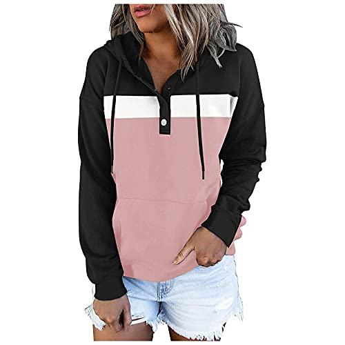 Sudaderas con capucha de bloqueo de color para mujer Novedad empalme botón abajo suéter con cordón moda Tops Casual manga larga sudadera, rosa, S