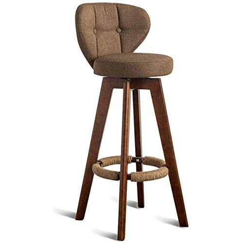 HYRGLIZI Kitchen Barstools Chairs Wooden Bar Stools - Swivel Set Of 4 With Backs Outdoor Counter Height Solid Wood For Kitchen Indoor Home-Brown
