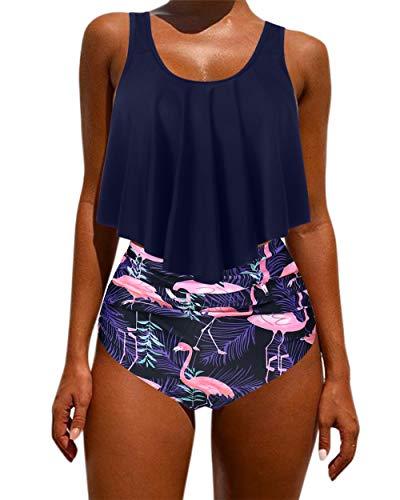 OMKAGI Women's Ruffle Bikini Swimsuit High Waisted Bottom Plus Size Swimwear Tankini(L,Navy Flamingo)