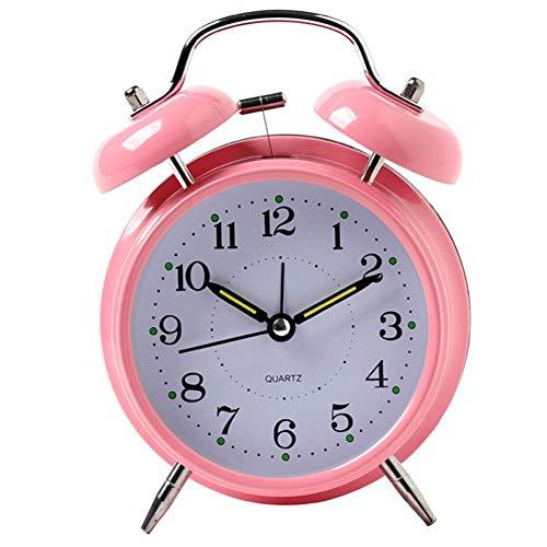 DLILI Despertadores Luminosos Despertadores Despertador Fuerte con luz Despertador de Metal Despertador silencioso para la cabecera Sala de Estudio Reloj Adornos Rosa