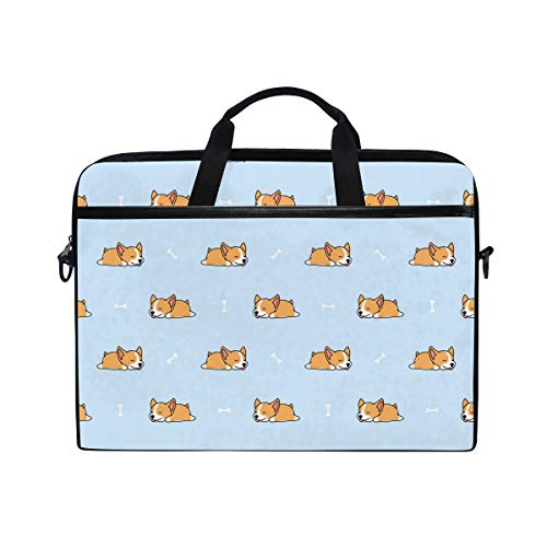 AGONA Sleeping Cute Corgi Dog Laptop Shoulder Messenger Bag 15 inch Case Sleeve for 14 Inch Laptop Case Laptop Briefcase Compatible Notebook Ultrabook Chromebook