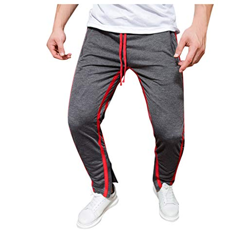 Sportbroek Running Jogger joggingbroek heren Long Leisure Jogger Cargo chino jeans broek elastische Wais Slim Fit Karo broek X-Large zwart