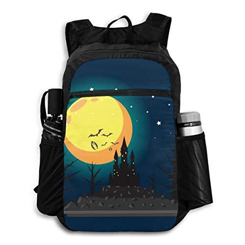 Travel Backpack Haunted Castle Halloween Night Moon Bat Mens Shoulder Backpacks Bag Bookbag Daypack