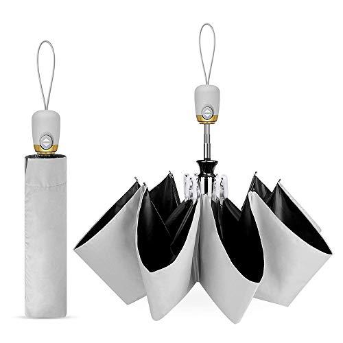 Covok Automatischer Anti-UV-Sonnenschirm Aus Schwarzem Gummi  99% UV-Schutz  Regen Und Regenschirm Taschenschirm Mit Einem Knopf Zum Automatischen ÖFfnen Und SchließEn  Sonnenschirm Unisex-Regenschirm