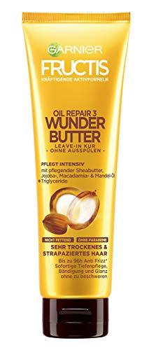 Garnier Fructis Oil Repair 3 Wunder Butter Leave-In Kur, intensive Pflege für sehr trockenes Haar, mit Sheabutter, 3er-Pack (3 x 150 ml)