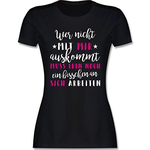 Sprüche - Wer mit Mir Nicht auskommt - rosa - M - Schwarz - Shirt mit Spruch Damen - L191 - Tailliertes Tshirt für Damen und Frauen T-Shirt