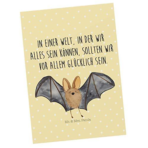Mr. & Mrs. Panda Grußkarte, Geschenkkarte, Postkarte Fledermaus Flügel mit Spruch - Farbe Gelb Pastell