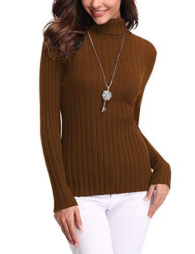 Aibrou Suéter de Cuello Alto para Mujer, Jersey Cuello Alto Manga Larga Mujer Primavera y Otoño ( Marrón , S )
