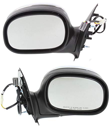 Power Mirror compatible with Ford F-Series 97-04 Right and Left Side Manual Folding Non-Heated Regular/Supercab Only Chrome