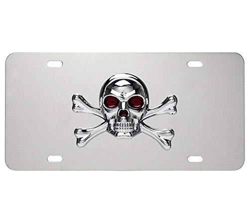 3D ABS Pirate Skull Crossbones Emblem Stainless Steel License Plate