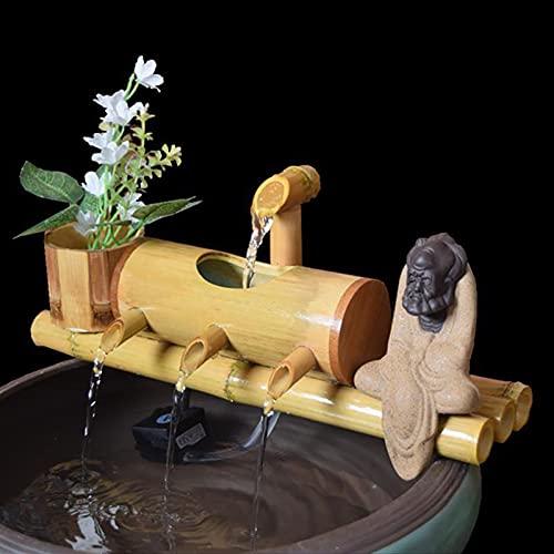 Heating Pads Fuente de Agua de bambú, Fengshui Jardín japonés Característica Cascada de meditación Cascada Que Fluye de Agua Hecha a Mano con Estatua de Figura,40cm