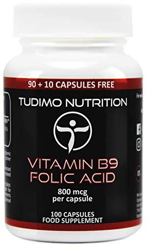Vitamine B9 Foliumzuur 800 mcg Capsules - 100 st. (3+ Maanden Voorraad) van Snelle Desintegrerende Capsules elk met 800mcg Premium Kwaliteit Foliumzuur Poeder