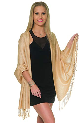 Pashmina Shawls and Wraps for Evening Dresses, Large Soft Pashmina Wedding Gold Champagne Shawl