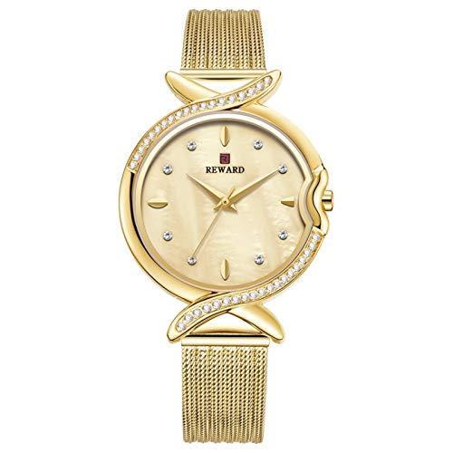 CHICAI Reloj de cuarzo para mujer Relojes de mujer Moda Casual Correa de acero inoxidable Diamante Reloj de pulsera Mujer Azul Reloj Mujer (Color: Dorado)