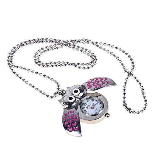 aloiness Metal Owl Llavero Reloj Llavero Bolsa Bolsillo de Coche Ornamentos Colgantes para Mujeres Hombres Recuerdo Regalo de Cumpleaños (Rosa)