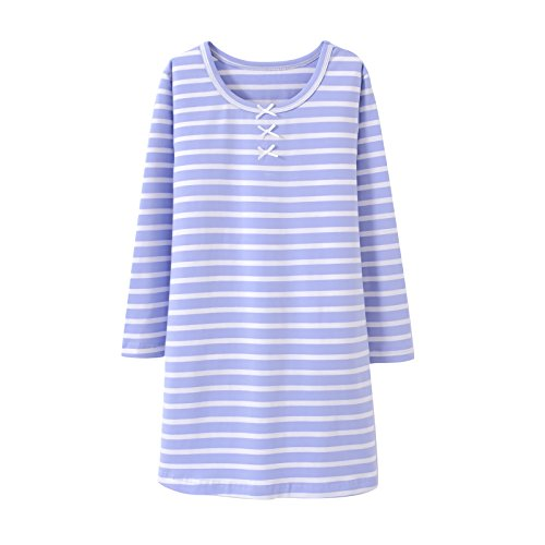 Image of Blue & White Striped Long Sleeve Sleep Shirt for Girls and Toddlers - See More Colors
