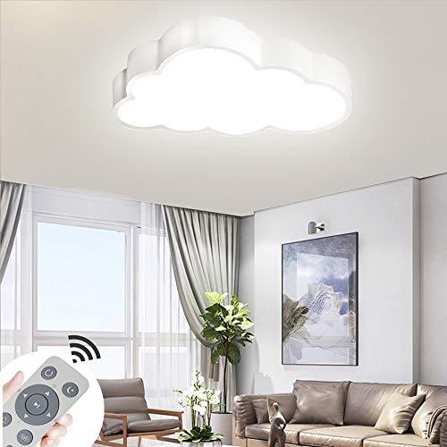 64W Lámpara De Techo LED De Nubes Regulables Luz De Techo Lámpara De Luces De Sala De Estar Lámpara De Dormitorio Con Control Remoto (Concha Blanca-64W)