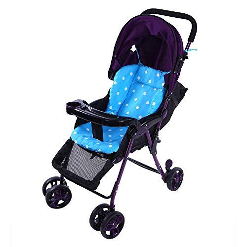Cojín para cochecito de bebé, algodón transpirable para cochecito de coche silla cojín para asiento forro funda protectora para bebé niño infantes (azul)