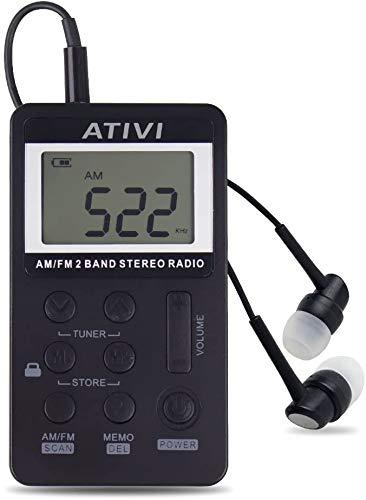Mini Radio Récepteur Portable AM FM Radio de Poche 2 Bandes Radio stéréo Mini DSP Récepteur numérique Tuning avec écran LCD Batterie Rechargeable et Casque pour Marche (Noir)