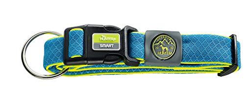 HUNTER MAUI VARIO PLUS Hundehalsung, Halsband für Hunde mit Zugentlastung, Mesh-Material, weich, leicht, robust, L, blau