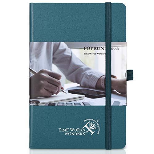 POPRUN Cuaderno A Rayas A5 de Tapa Dura - Libreta Lineas con 3 Índice y 235 Páginas Numeradas, Bucle de Lápiz y Bolsillo, Verde Pacífico