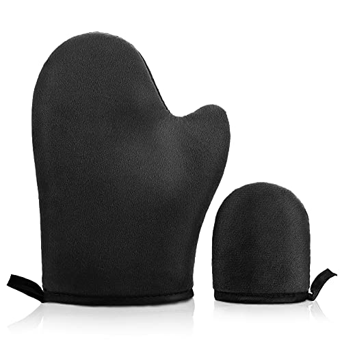Molain 2 Pack Self Tanning Mitt Face Body Double-Sided Applicator Glove With Thumb Ultra Soft Tanner Gloves Reusable Washable Tan Mitt For Lotion Mousse Summer Artifact (Black)