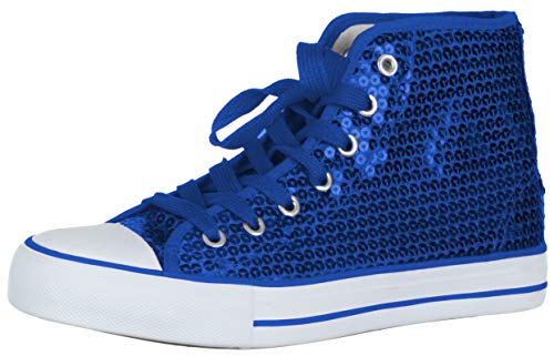 Brandsseller Damen Sneaker Pailletten Halbhoch/Damenschnürer/Damenboots - (38 EU, Blau)