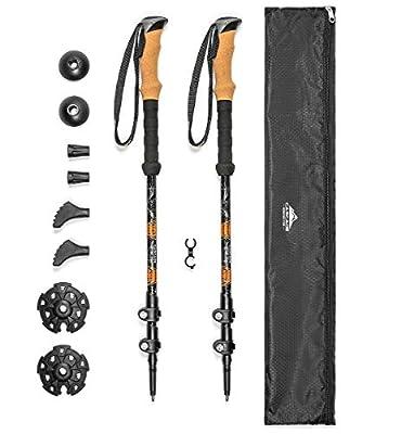 Cascade Mountain Tech Aluminum Adjustable Trekking Poles - Lightweight Quick Lock Walking Or Hiking Stick - 1 Set (2 Poles), Cork Grip