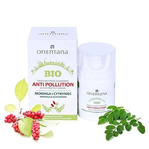 Orientana Bio-aktive Anti-Pollution-Schutzcreme mit Moringa und chinesischem Spaltkörbchen - 99% Natürliche, 100% Vegane, blockiert Folgen von aggressiver Luftverschmutzung, 50 ml